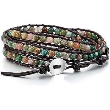 MOWOM Alloy Genuine Leather Bracelet Bangle Cuff Rope for Women Boys Kids Gemstone Beads Braided 3 Wraps & 5 Wraps Stone Adjustable Handmade Jewelry Gift