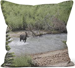 Nine City Moose Crossing River Throw Pillow Cushion Cover,HD Printing Decorative Square Accent Pillow Case,16