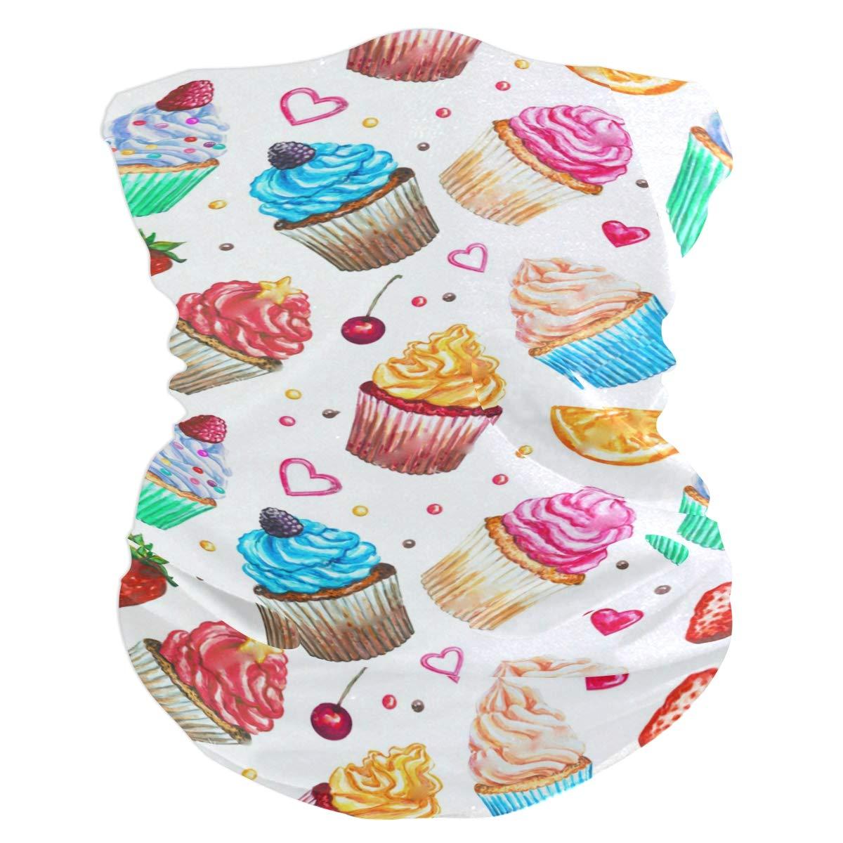 SLHFPX Watercolor Cupcake Strawberry Headband WoBandana Balaclava,Neck Warmer,Face Mask,Headwear Foulard