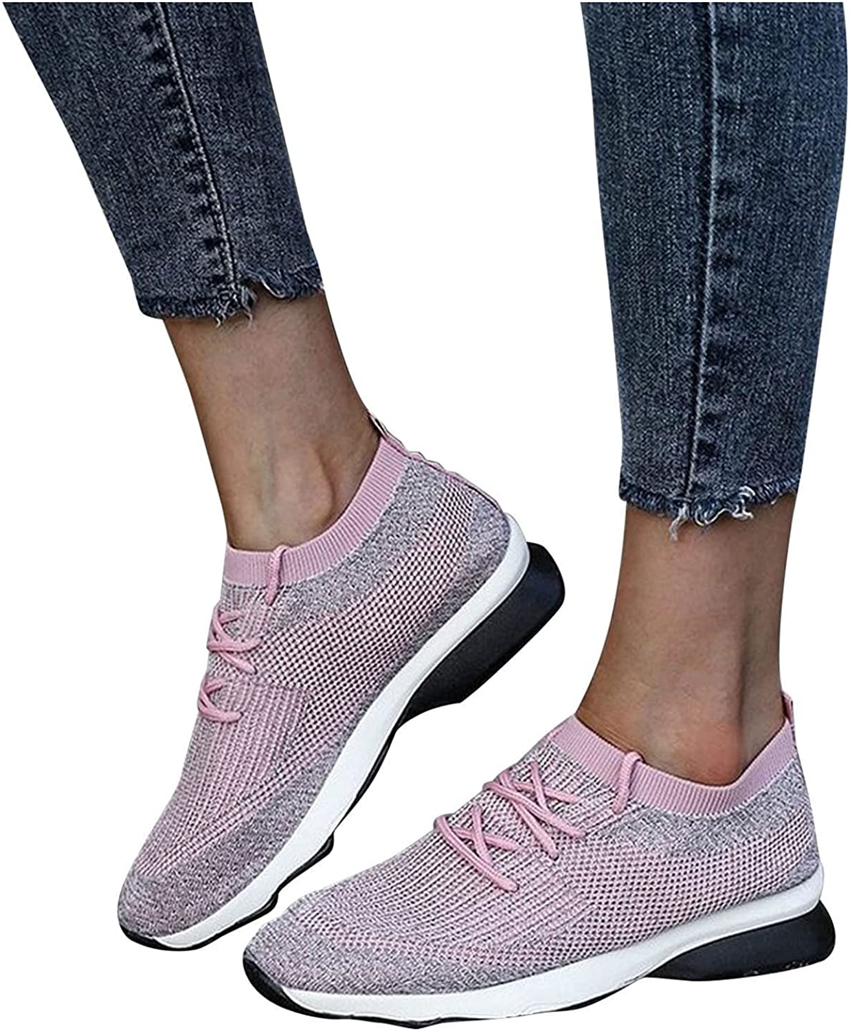 UOCUFY Sneakers for Women Slip On Sneakers Comfort Breathable Tennis Shoes Running Shoes Lightweight Casual Walking Shoes