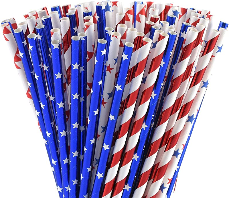 ALINK American Flag Red Blue White Paper Straws 100 Biodegradable Straws For Memorial Day 4th Of July Super Bowl Patriotic Party Americana Themed Party Celebration And Holiday