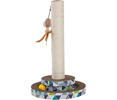 Scratch Tower Catnip Blasted Track Cat Scratching Post and Scratching Pad with Toy for Cats by Petstages