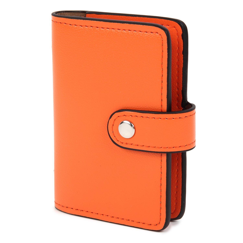 KK(三四郎市場) 型崩れしない カードケース PUレザー コンパクトで 大容量収納 オレンジ