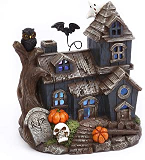 One Holiday Way Spooky Light Up Miniature Haunted House with Hovering Bat – Halloween Village Tabletop Decoration
