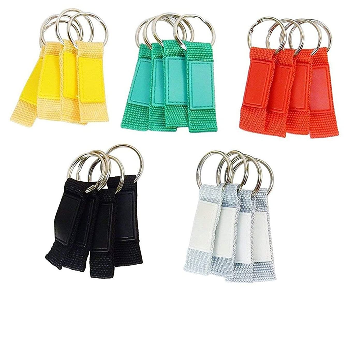 Lot of 20 - Key Rings, Nylon Webbing Fob With Silicone Thumb Pad, Assorted Colors - Printable.