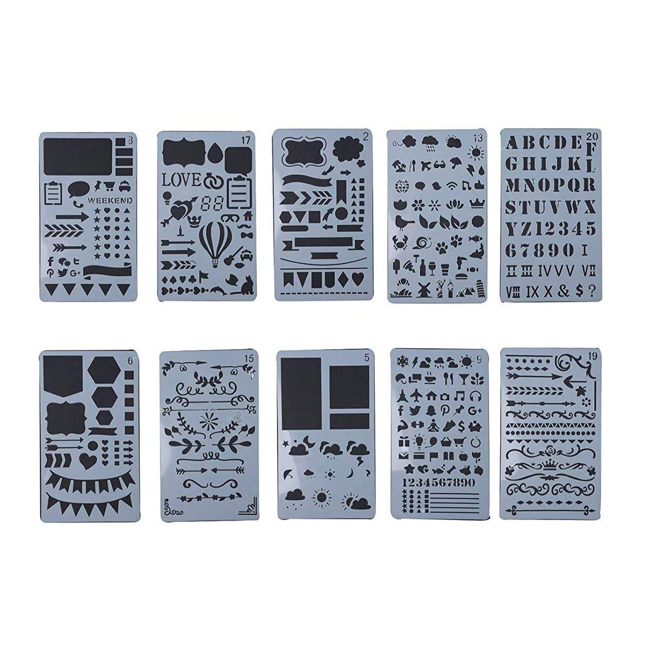 LazyMe 10 Pack Journal Notebook Stencil Plastic Planner Stencils Journal/Notebook/Diary/Scrapbook DIY Drawing Template Stencil 4x7 inch