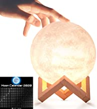 Moon Lamp 3D LED Dimmable Moon Light,3 Warm Luna Colours,5.9 inch Rechargeable Glowing Moon Globe for Kids.Bonus downloadable Moon Calendar