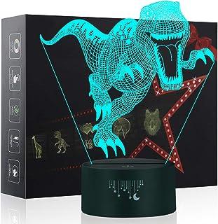 Yunplus Ilusión dinosaurio 3D de la lámpara, Cambio de Colores Touch LED Interruptor luz de la noche lámparas de mesa escritorio Velociraptor 6