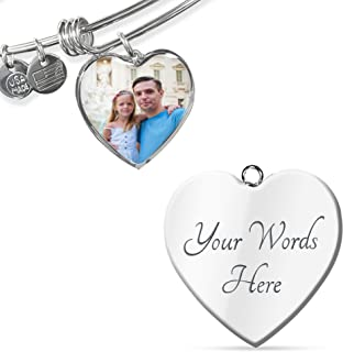 Customized Personalized Photo Silver Heart Charm Bangle Bracelet with Engraving Option - Put Your Favorite Picture on This Jewelry with Your Engraved Custom Message as a Special & Unique Gift