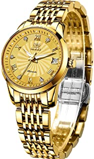 Stainless Steel Automaitc Watches for Womens Ladies Mechanical self Winding Date Day Waterproof Luminous Watches