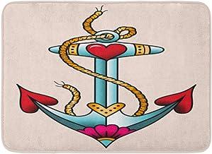 Doormats Bath Rugs Outdoor/Indoor Door Mat Navy Retro Sea Anchor Color Tattoo in Traditional Old School Blue Vintage Ship ...