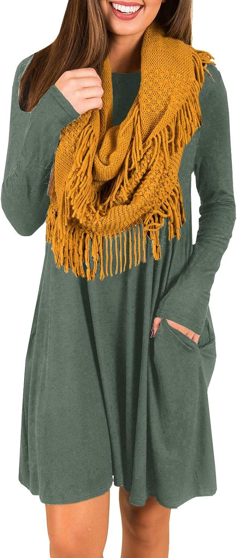 Imysty Womens Tunic Dress Long Sleeve Casual Loose TShirt Dress Pockets