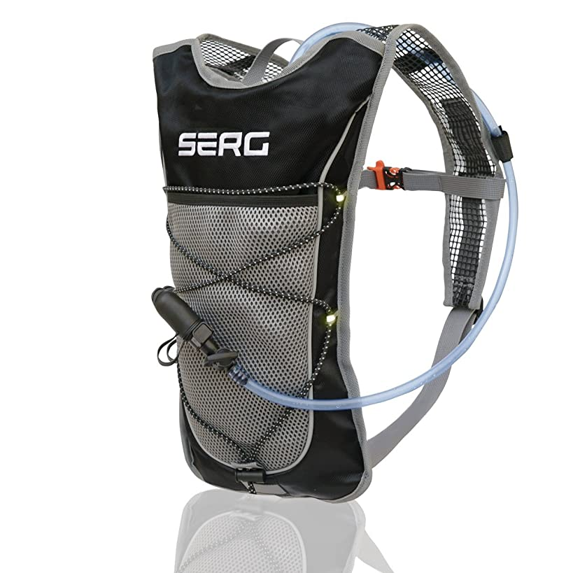 SERG Hydration Pack, Camel Pack - Hydration Water Backpack, 2L TPU Leak Proof Water Bladder, Reflective,Small Light Weight, BPA FREE, For Women Men Kids. Prefect Gear for Running Hiking Cycling.