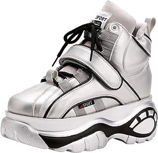 Jamron Femmes Gothique Punk High/Low Top Chaussures Plateforme Chunky Sneakers à Lacets Baskets Compensées