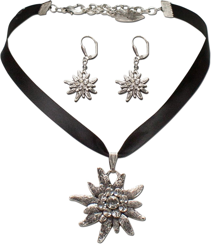 Alpenflüstern Traditional bavarian jewelry set satin ribbon necklace and earrings rhinestone Edelweiss , Ladies costume jewelry, traditional german flower pendant, Dirndl, Oktoberfest (black)