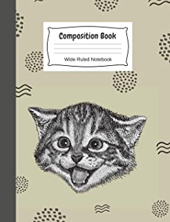 Cat Primary Story Journal Composition Book: Wide-Rule Lined Notebook With Cute Kitten. Perfect for Elementary, Middle & Pr...