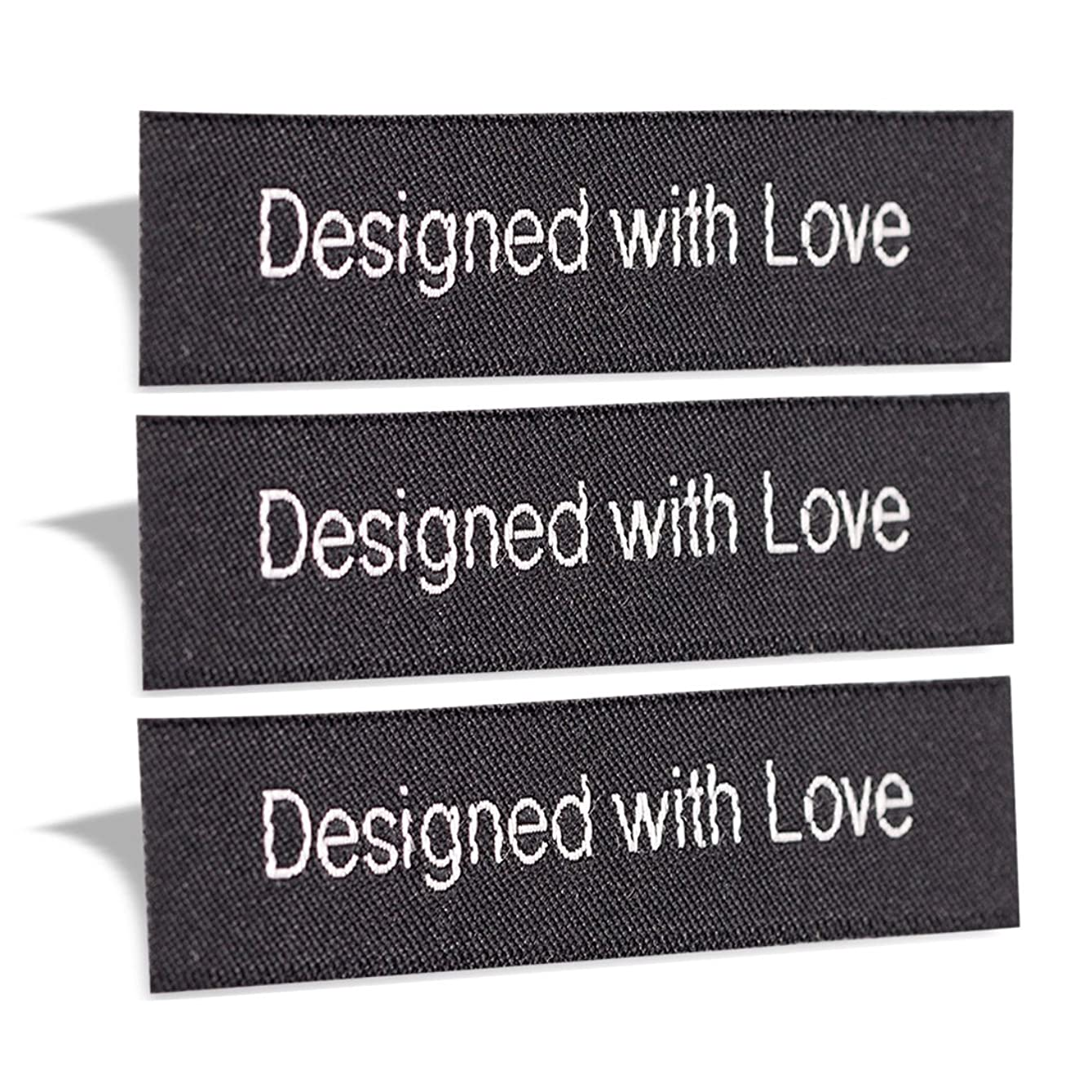 Wunderlabel Designed with Love Crafting Craft Art Fashion Woven Ribbon Ribbons Tag for Clothing Sewing Sew on Clothes Garment Fabric Material Embroidered Label Labels Tags, White on Black, 25 Labels vjfcqw260733