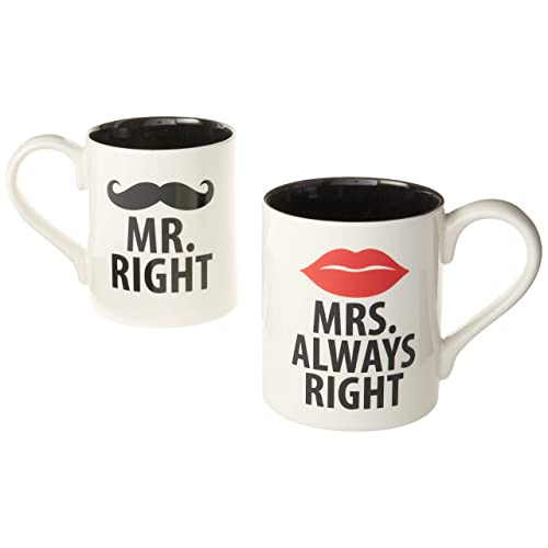 Enesco Our Name is Mr. Right and Mrs. Always Right Stoneware Coffee Mug Set