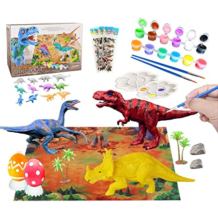 Kids Arts and Crafts Dinosaur Painting Kit with Play Mat Creativity DIY Arts Crafts Decorate Your Own Dinosaur Figurines 3D Painting Dinosaurs Toys for Boys Girls Age 4 5 6 7 8 9 10 and Up