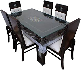 BLUE GRASS PVC Transparent Dining Table Cover with Silver Lace || 54 x 78 inches || 6 Seater
