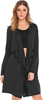 Women's Lightweight Long Sleeve Draped Open Front Trench Coat Cardigan with Pockets