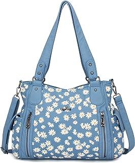 Damen-Handtaschen / Schultertaschen aus gewaschenem Leder (5739Z##136GREY)