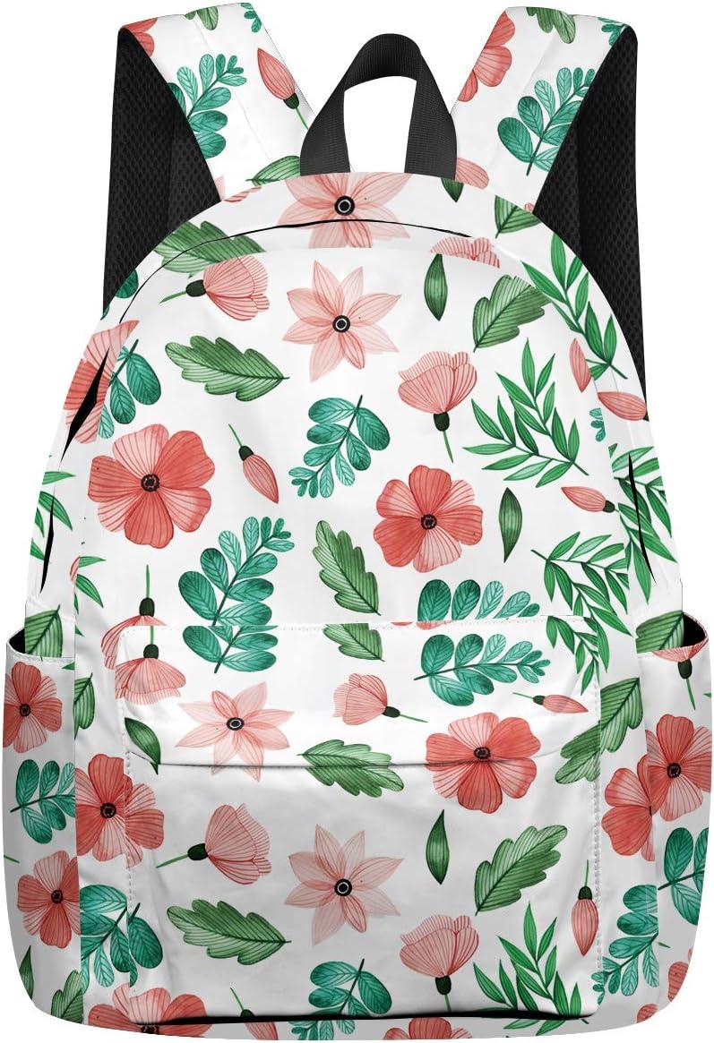 School Backpack Flowers Leaves Simple Student Rucksack Boys Girls Daypack