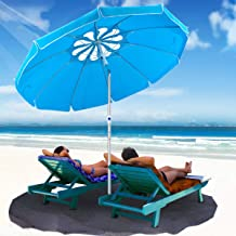 MOVTOTOP 6.5ft Beach Umbrella with Tilt Aluminum Pole and UPF 100+, Flower Vents Design and Portable Sun Shelter for Sand and Outdoor Activities