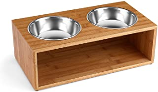 Flexzion Elevated Raised Dog and Cat Pet Feeder Bowls - Raised Stand Feed Station Tray Waterer with Double Stainless Steel Bowl Dish For Dog Cat Food and Water Modern Bamboo Style