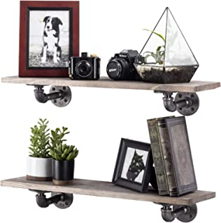 Rustic Industrial Pipe Brackets Floating Shelves by Pipe Decor, Distressed Aged Wood Paired with Iron Pipes Bracket, Wall Mounted Hanging Shelf, Reclaimed and Barn Wood Inspired, 24 Inch Grey 2 Pack