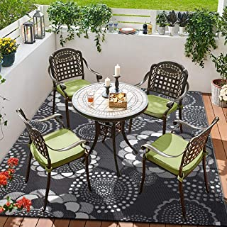 SMART DESIGN MAT SMM008 Reversible Indoor/Outdoor Rugs-(Grey,8x10)