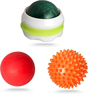 Pressure Point Massage Ball Set. 3 Massage Rollers for Stress Relief and Relaxing Tight Muscles. Ideal Foot, Back, Leg and Deep Tissue Sore Muscle Massager (Bundle of 3)