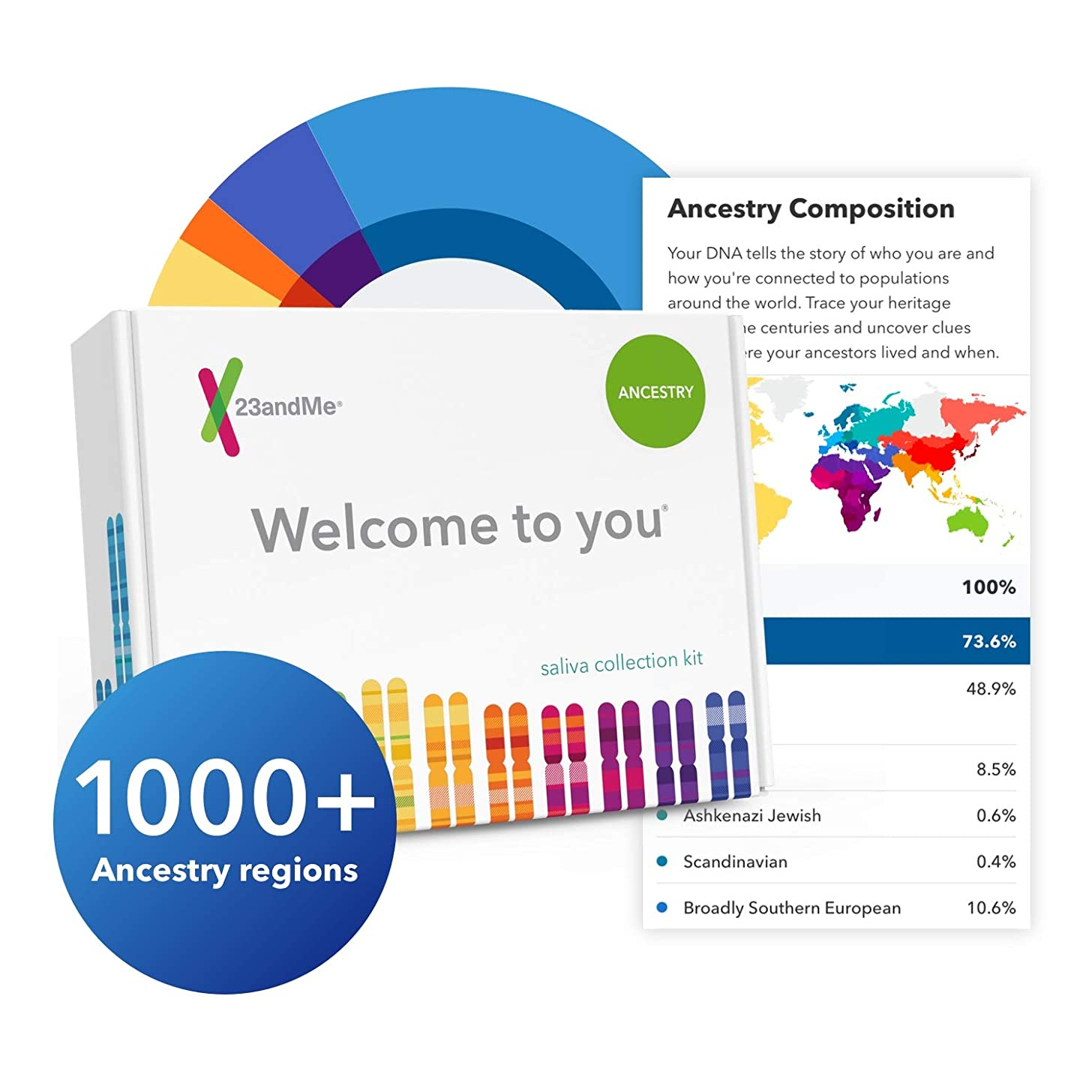 23andMe DNA Test - Ancestry Personal Genetic Service - Includes 1,000+ Geographic Regions, DNA Relative Finder (Opt-in) & More