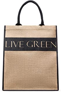 LIVE GREEN Multipurpose Jute Tote Bag, 100% Natural, Strong, Durable, with Cotton Handles and Reinforced Base, Extra Large...