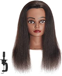 Traininghead 18-20'' Afro 100% Human Hair Mannequin Head Hairdresser Female Training Styling Head Cosmetology Manikin Head Doll Head with Clamp Stand (Natural Black)