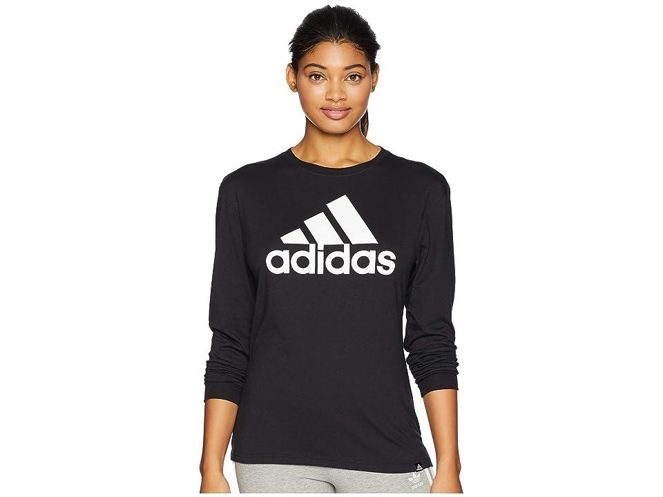 adidas Badge of Sport Long Sleeve T-Shirt (Black/White) Women