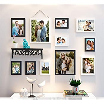 Art Street Synthetic Wood Wall Photo Frame (Black and White, 6 Units 4X6 Inch, 3 Units 6X8 Inch, 2 Unit 8X10 Inch)- Set of 11