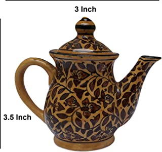 India Meets India Tea Pot Kettle Ceramic Handmade khurja Pottery Brown Color