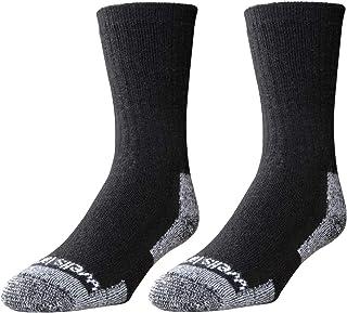 2-Pair Pack Wells Lamont Men's Black Wool Blend Crew Socks: Warm, Durable, Comfortable Work Socks, Made In The USA; Men's ...