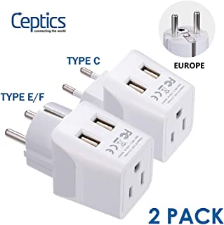 Europe Schuko Travel Adapter Plug Set by Ceptics - with 2 USB + USA Socket Input - Type E/F and Type C - Ultra Compact - Safe Grounded Perfect for Cell Phones, Laptops, Camera Chargers