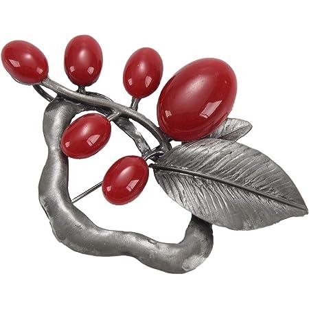 TOOGOO Plata Antigua + Rojo Broche Vintage de Piedra de opalo para Mujer Pines Broche de Flor Grande Pistola Apto Sueter Bufanda