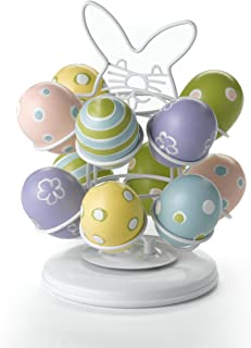 Nifty Easter Egg Carousel - White Powder Coat Finish, Spins 360-Degrees, Kitchen Centerpiece Display Stand, Decorative Egg...