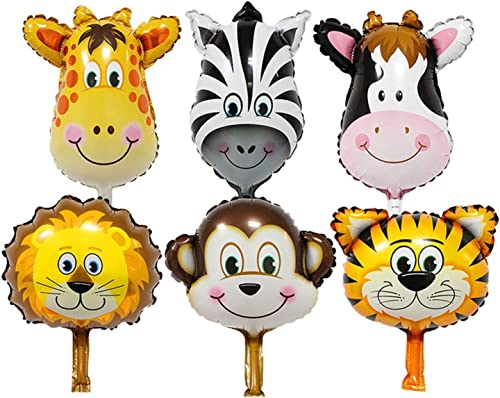 PARTY PROPZ JUNGLE THEME ANIMAL FACE FOIL BALLOON (SET OF 6 PCS)/ JUNGLE PARTY SUPPLIES