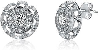 Montage Jewelry Women's Round Sterling Silver & Cubic Zirconia Vintage Stud Earrings