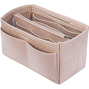 Feutre /épais de 3mm Cement Gray, L - Large 28 x 15 x 15 cm FFITIN Organiseur de Sac /à Main Organiser Insert Organisateur de Sac avec poingn/ées