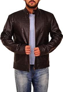 Men Pure Black Alligator Crocodile Print Premium Leather Motorcycle Bikers Jacket