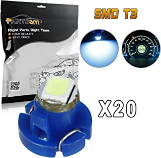 Partsam 20x T3 Neo Wedge Ice Blue LED Car A/C Climate Controls Radio Switch Lights Bulb
