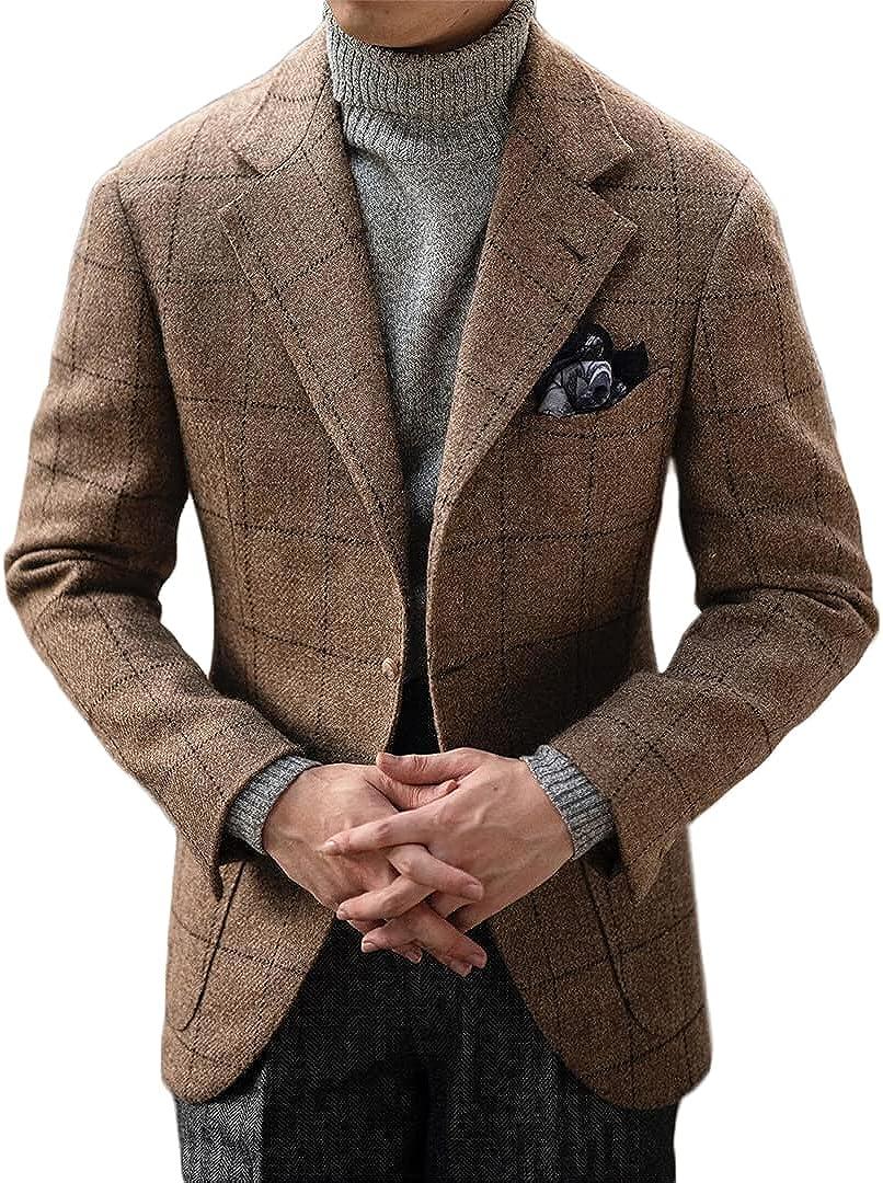 cheap Brown Blazer Wide Plaid Men's Suit Single-Breasted Coat Gentlema Regular store