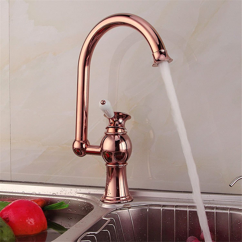AQMMi Wasserhahn Bad Waschbecken Waschtisch Rotes Kupfer Warmes Und Kaltes Wasser Schwenkbar Messing 1 Bohrung Mischbatterie Waschbeckenarmatur Für Badezimmer