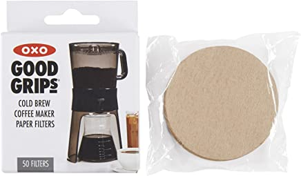 OXO Good Grips Cold Brew Coffee Maker Replacement Paper Filters,  Brown,  50 Per Box